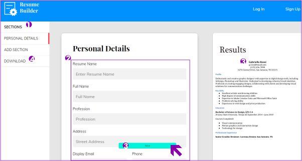 membuat CV secara online melalui Resume builder