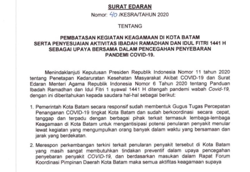 Walikota Terbitkan Edaran Aturan Ibadah Ramadhan Selama Pandemi yang Isinya, dari Mudik dan Buka Puasa Bersama Diluar Dilarang!