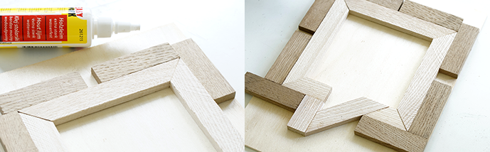 Zusammenkleben der Holzleisten mit Holzleim.