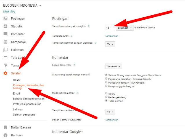 Cara Setting Jumlah Postingan Artikel di Blogger