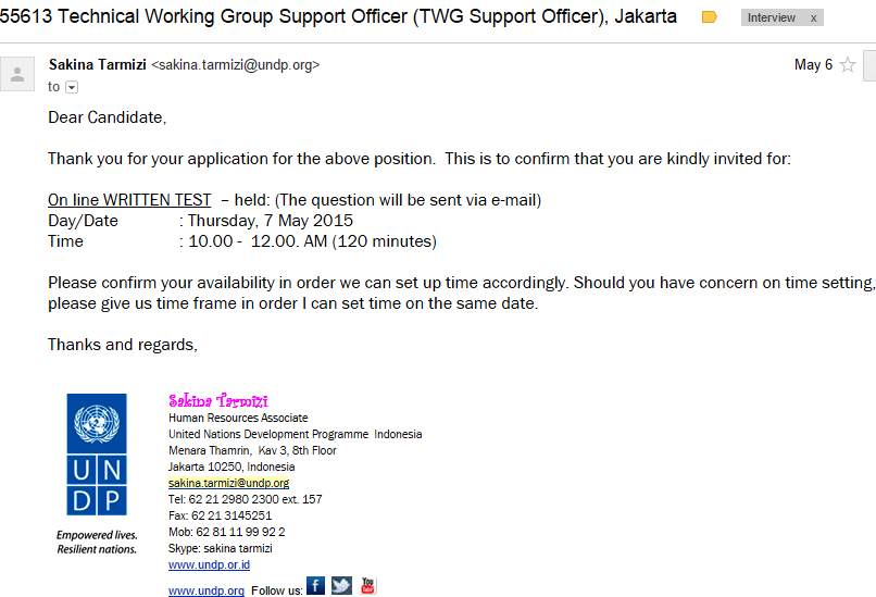 Friskila English Course: Sample Of Interview Invitation Email (1