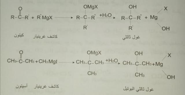تفاعل الكيتونات مع كواشف غرينيار فتعطي الكحولات الثالثية.
