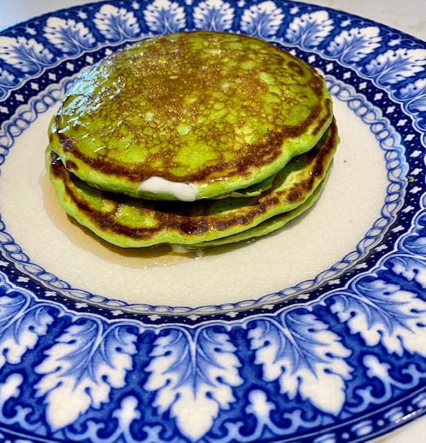 green pancakes for St. Patrick's Day