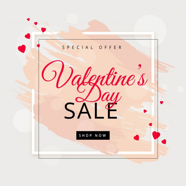 Valentine's day sale background Free Vector download