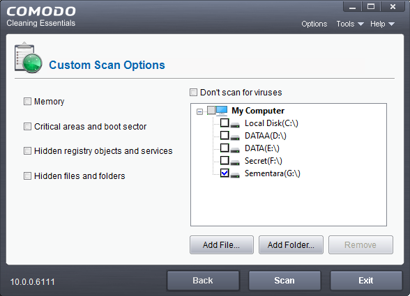 Custom Scan Comodo Cleaning Essential