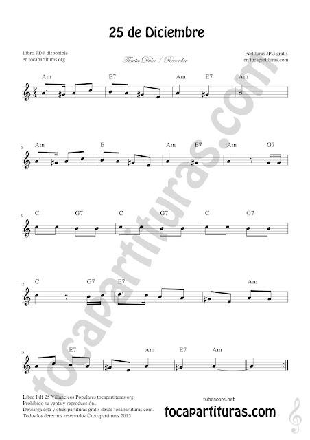 Flauta Dulce Partitura de 25 de Diciembre Villancico de Navidad Sheet Music for Recorder Christmas Carol Music Scores