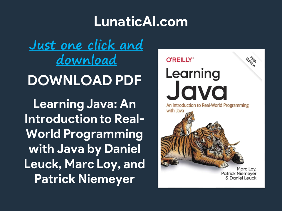 Learning Java O'reilly 5th Edition PDF Github