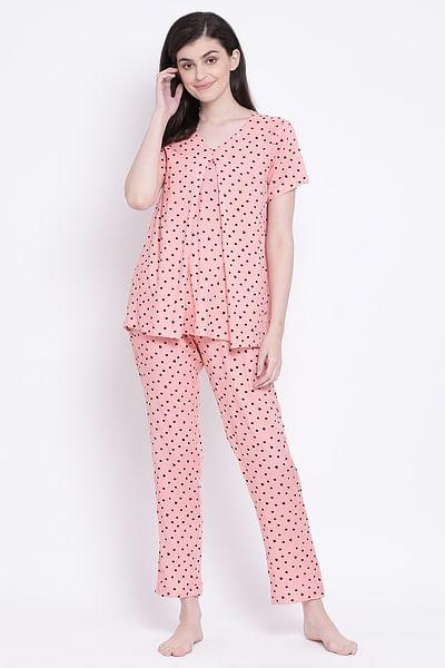 Clovia - Feeding Polka Print Layered Top & Pyjama in Peach- Rayon