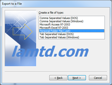 export file pst trong outlook