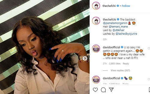 Image result for i'm getting you pregnant again, davido tells chioma