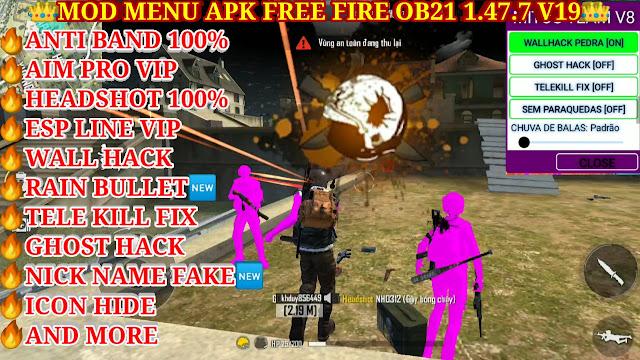 DOWNLOAD MOD MENU APK FREE FIRE OB21 VIP V19 FREE - TELE KILL FIX, AUTO HEAD SHOT 100%, NICK NAME FAKE