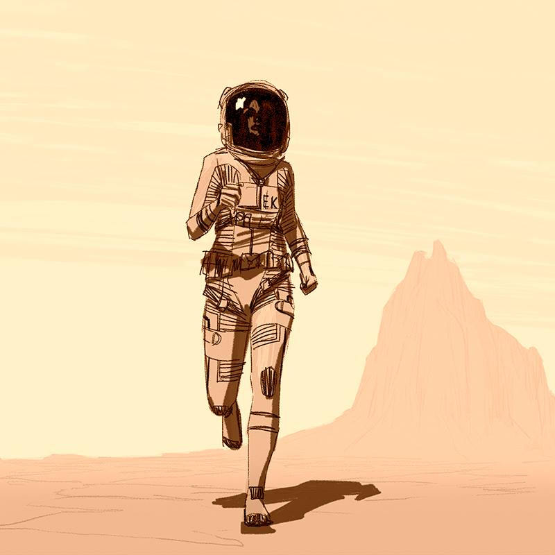 Running female astronaut on Mars by Clay Rodery
