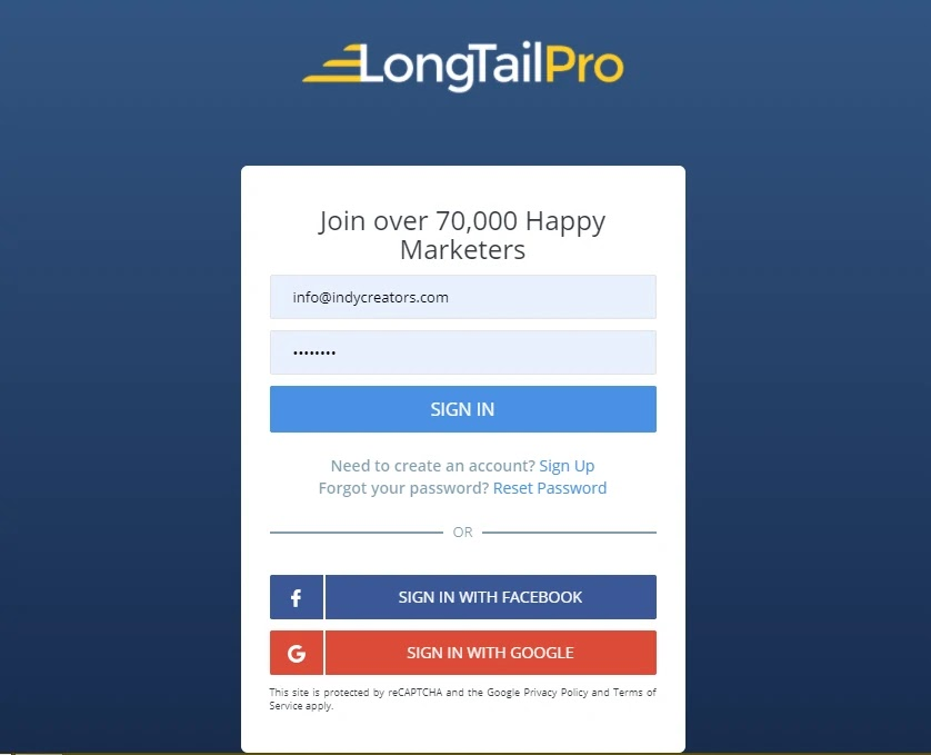 log in to LongTailPro