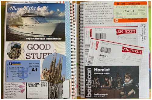 Smash book pages with tickets and travel mementoes