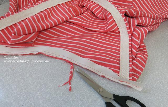 como rematar una costura  con cinta bies o sesgo