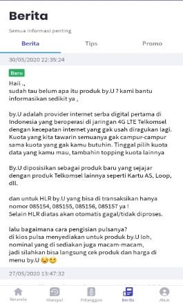Tampilan Menu Berita, Tips & Promo di Aplikasi KiosonPulsa.com