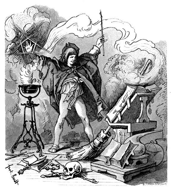 Εικονογράφηση για τον Μαθητευόμενο Μάγο του Γκαίτε από τον F.Barth, 1882 περίπου / Sorcerer's Apprentice illustration by F.Barth