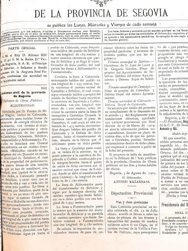 Boletín Oficial de Segovia con la solicitud para autorizar la instalación de una central hidroeléctrica en Molinilla y su consiguiente línea de transporte de energía eléctrica.