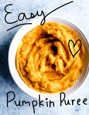 A picture of a bowl of orange fresh pumpkin puree with the words Easy Pumpkin Puree around the bowl