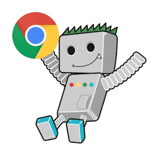 a google bot with google chrome icon in his right hand