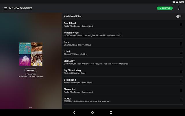 Spotify Premium Favorites Menu