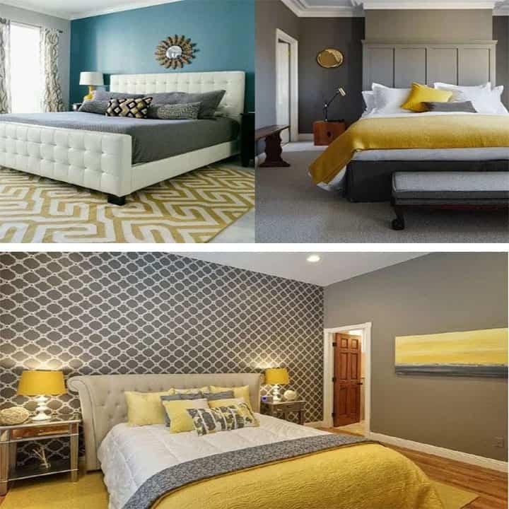غرفة نوم باللون رمادي مع أصفر
