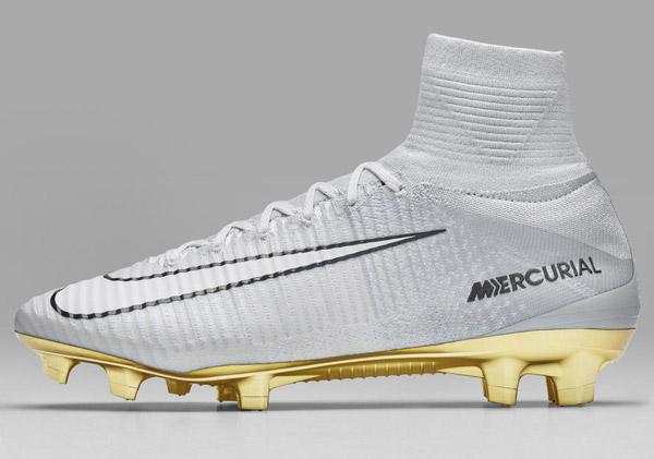 Nike Mercurial Superfly CR7 Vitòrias Cristiano Ronaldo botas plateadas y tacos color dorado
