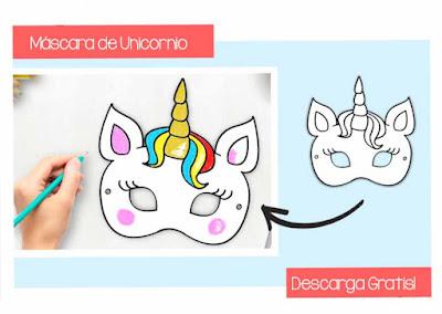 Máscara de unicornio para imprimir