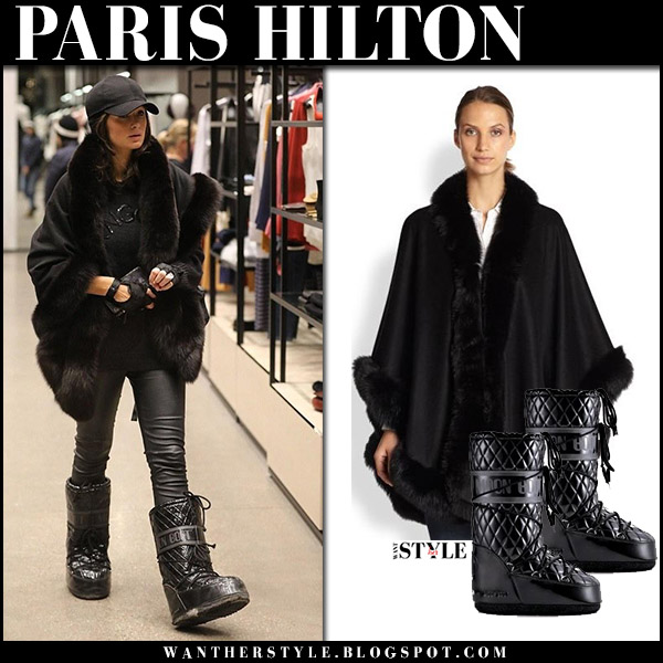 Paris Hilton in black fur trim cape sofia cashmere and black snow boots tecnica moon boots winter ski style january 1