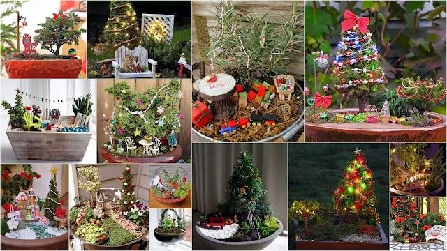 Χριστουγεννιάτικες μινιατούρες κήπων (Fairy Gardens) σε γλάστρες