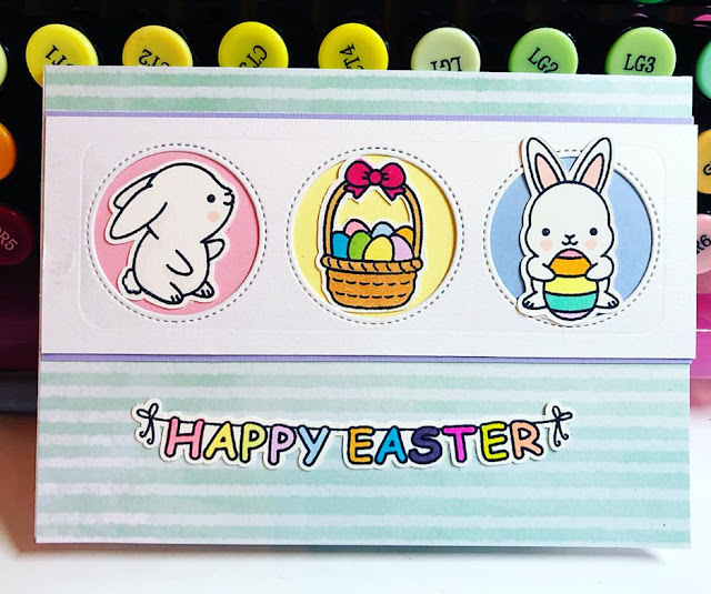 Sunny Studio Stamps: Chubby Bunny Window Trio Dies Customer Card by Jenny Roff