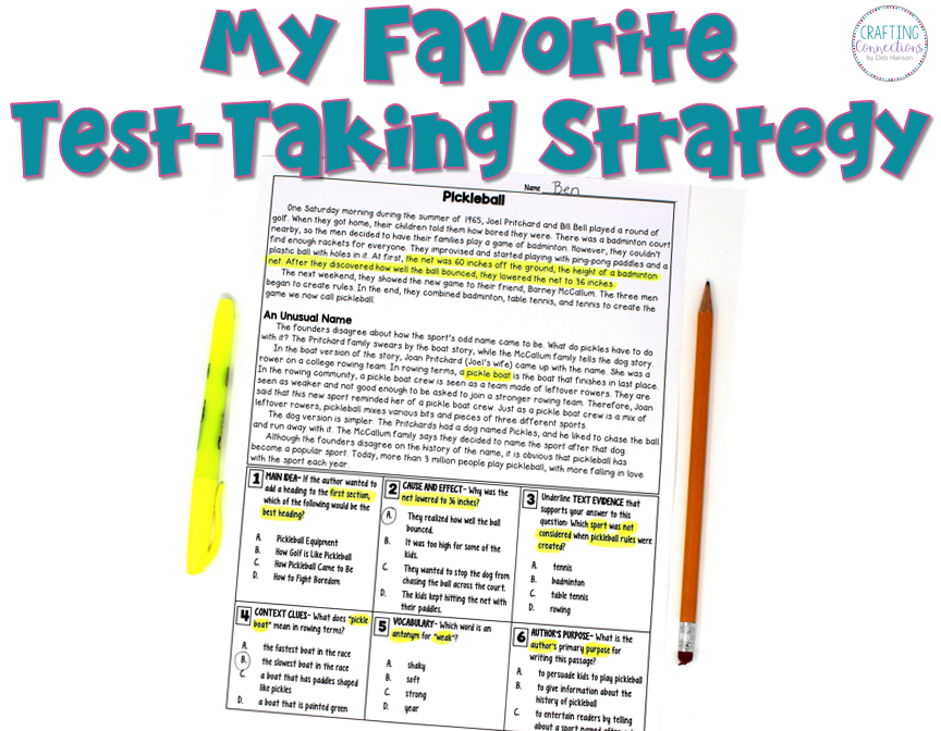 There are many valuable test-taking strategies to teach upper elementary students before they take a standardized reading test. Check out this blog post to read about the test strategy that I think is most beneficial for students. It includes a FREE reading comprehension practice passage!