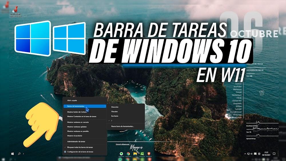 Barra de Tareas de Windows 10 en Windows 11 | Cambiar Barra de Tareas