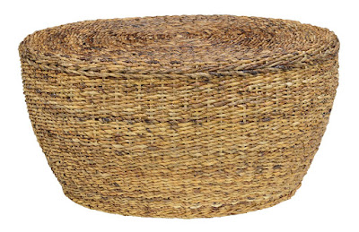 Rattan oval coffee table with beachy feel - found on Hello Lovely Studio