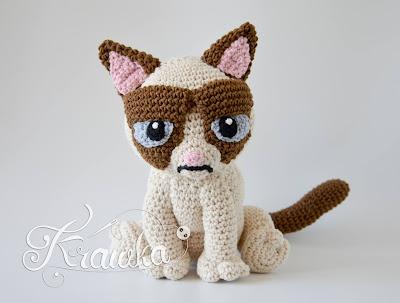 Krawka: Not very happy cat crochet pattern amigurumi inspired by Grumpy cat by Krawka