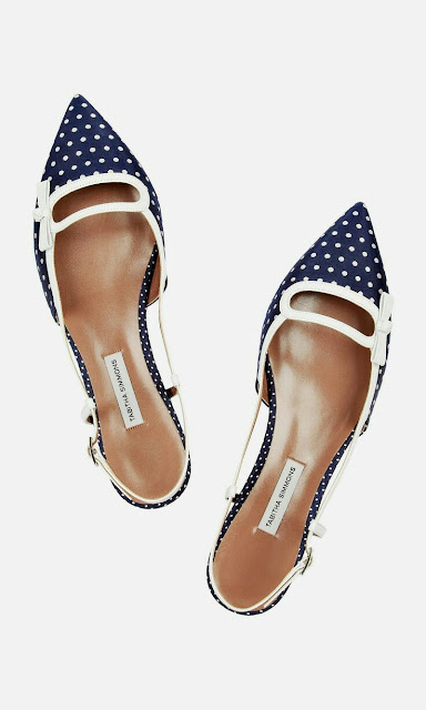 Navy and white spotted shoes
