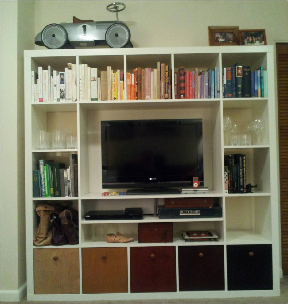 ikea kallax entertainment center. Black Bedroom Furniture Sets. Home Design Ideas