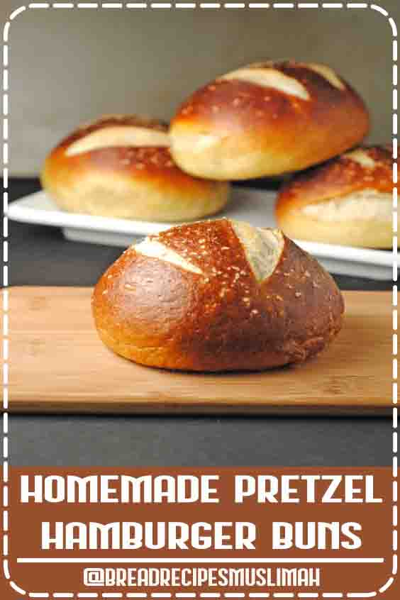 SAVED Homemade Pretzel Hamburger Buns. ~~~ fantastic! Made rolls, but also made 1 pretzel. Recipe I've been looking for. Just need to figure out the sticking part. Water bath makes it stick to parchment no matter how much you blot them. Try on silpat next time. Or plain old oiled baking sheet. #yeast #bread #recipes #king #arthur