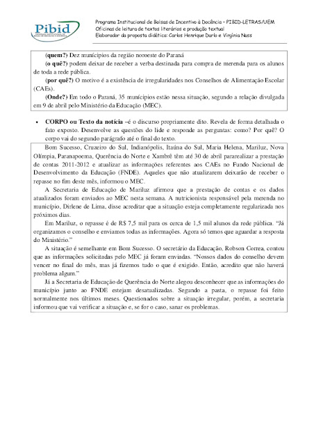 GÊNERO TEXTUAL NOTÍCIA ATIVIDADES