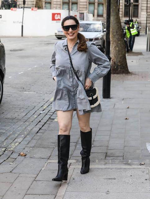Kelly Brook – In grey dress at the Global Radio Studios in London