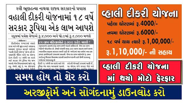 Gujarat Vahli Dikri Yojana Form 2020, Eligibility And Benefits