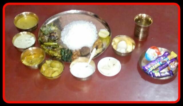 Bengali Food, Chokole,Rice,Mixed veg,fish,Sweet.