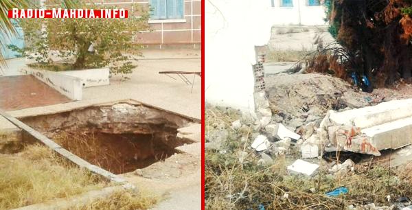 المهدية : سقوط سور معهد بومرداس وظهور بئر بعمق 40 متر !