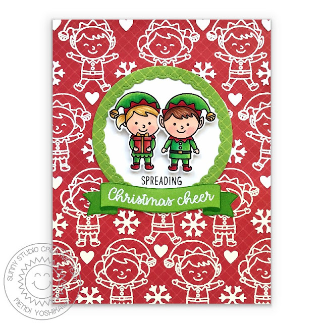 Sunny Studio Blog: Spreading Christmas Cheer Red & Green Holiday Card (using North Pole & Banner Basics Stamps, Fancy Frames Circle Dies & Classic Sunburst Paper)
