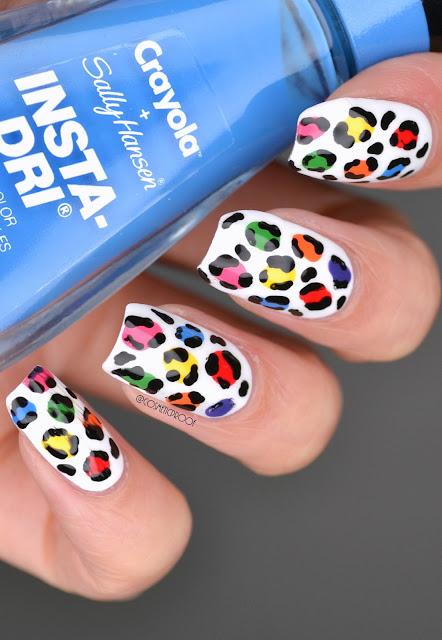 Rainbow Leopard Pride Nail Art