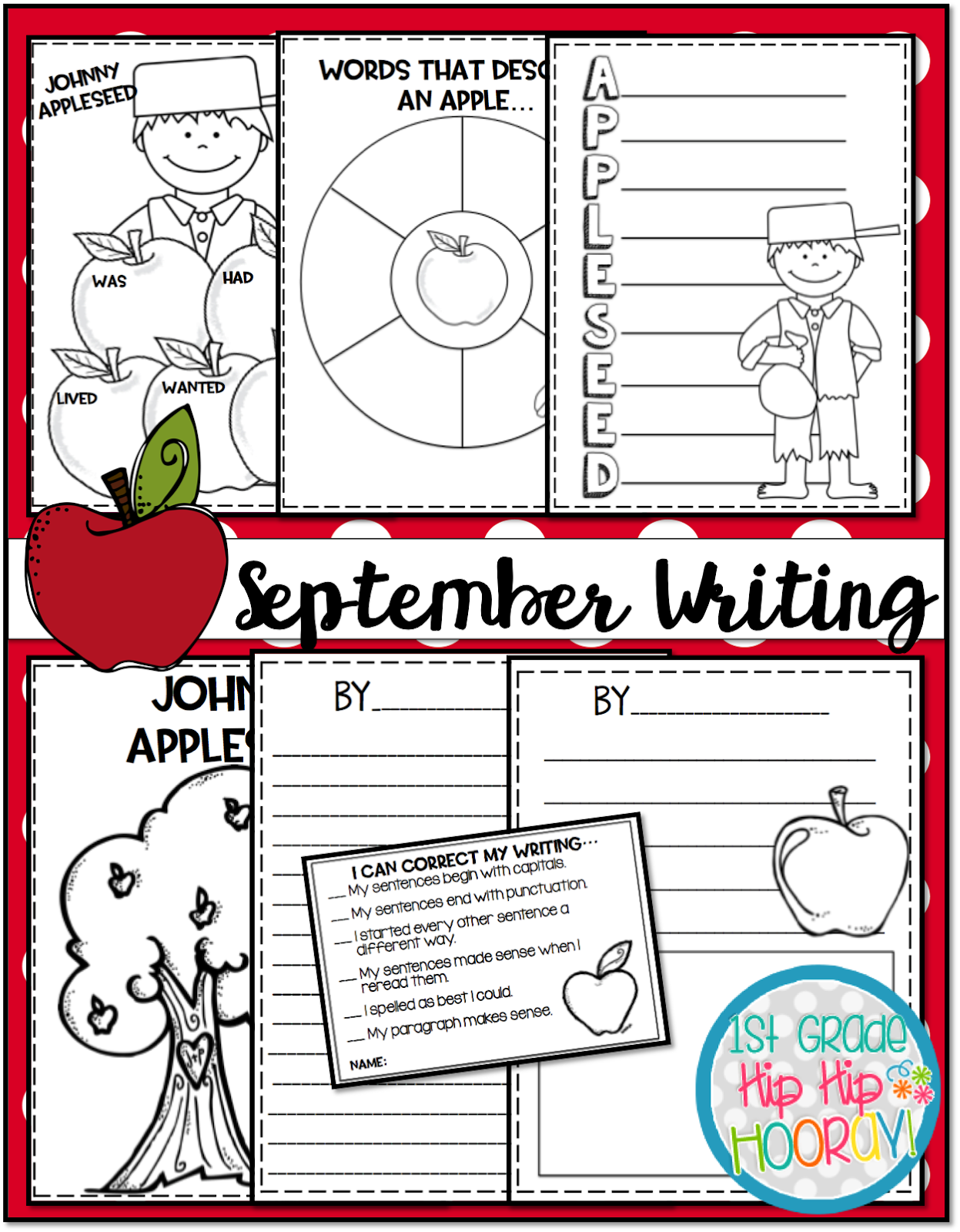 1st Grade Hip Hip Hooray September Johnny Appleseed