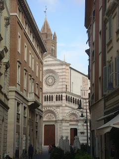 Grosseto's Romanesque cathedral, viewed from the Via Daniele Manin