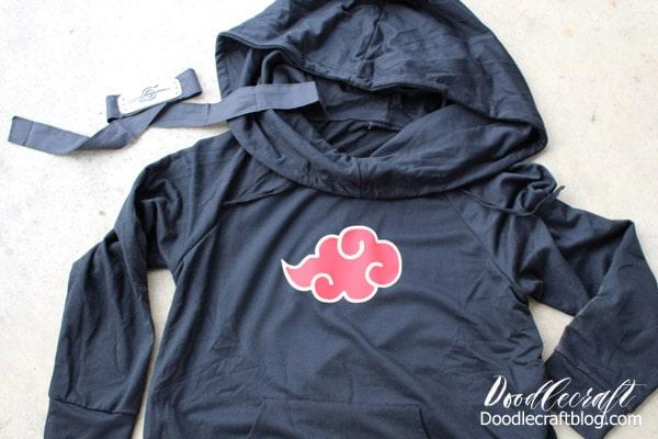Naruto Akatsuki Robe Cloud Hoodie with Cricut Layered Iron-on Vinyl