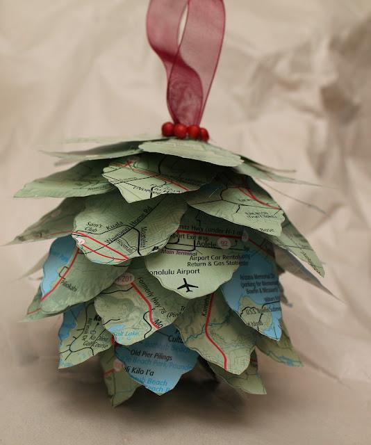 Pinecone Map Ornament