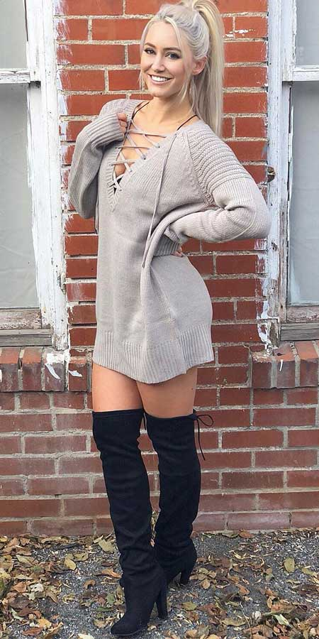 Lace-up sweater dress, Knee boot in black | From knit sweaters to knit sweater dress, knit cardigan dress to knitting cardigan. There are so much to try in knitwear fashion. Here are 25 cute knit outfits ideas to wear. knitting clothes and knitted outfits via higiggle.com #sweaters #knit #outfits #style